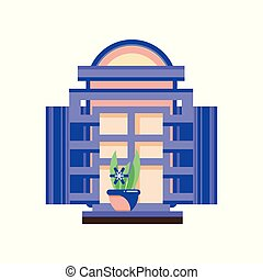 Retro window with blue shutters and plant in ceramic pot, architectural design element vector Illustration on a white background