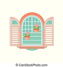 Retro window with shutters and flowerpots, architectural design element vector Illustration on a white background