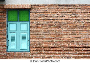 Retro windows in brick wall