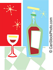 Retro Wine and Glass #2