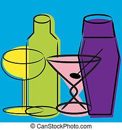Retro wine and martini