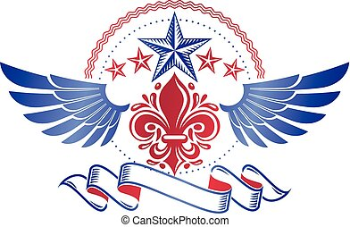 Retro winged vintage Insignia created with lily flower and pentagonal stars. Vector product quality idea design element, Fleur-De-Lis.