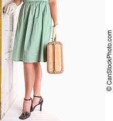 retro, wizerunek, od, kobieta dzierżawa, bagaż