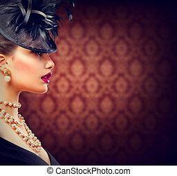 retro, woman., 포도 수확, 유행에 따라 디자인 하는, 소녀, 와, retro, 머리 형, 와..., 구성