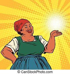 Retro woman African-American gesture promo, pop art retro...