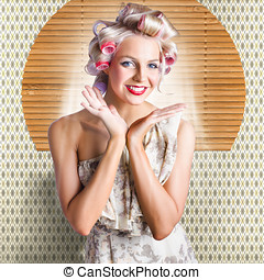 Retro Woman At Beauty Salon Getting New Hair Style - Smiling...
