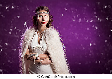 Retro Woman Beauty Portrait, Beautiful Fashion Lady in Old Fashioned Luxury Dress and Pearl Jewelry
