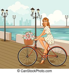 Retro woman cycling on street - Concept of retro woman ...