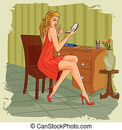 Retro woman doing makeup infront of dressing table - Concept...