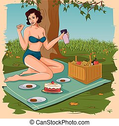 Retro woman enjoying food in picnic - Concept of retro woman...