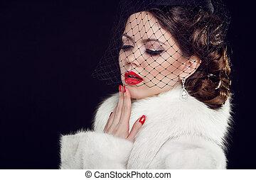 Retro woman. Fashion model girl portrait.  Isolated on black background.