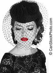 Retro woman. Fashion model girl portrait. Black and white photo. Isolated on white background.