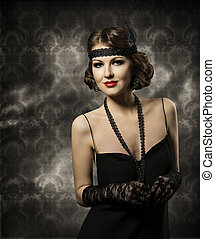 Retro Woman Hairstyle Portrait, Elegant Lady Make Up