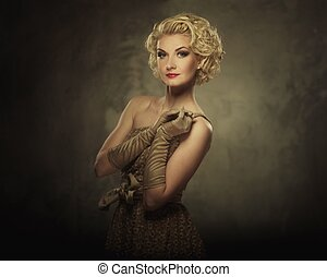 Retro woman in dress