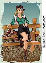 Concept of retro woman in horse ranch. Vector illustration