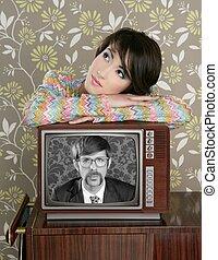 retro woman in love with tv nerd hero