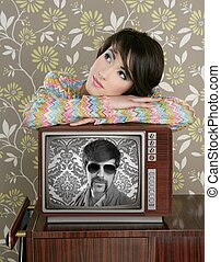 retro woman in love with tv nerd hero - retro woman in love...