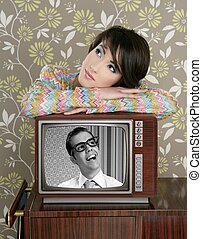retro woman in love with tv nerd hero vintage 60s wallpaper