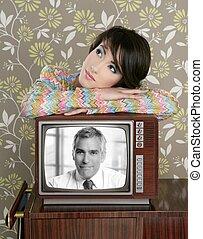 retro woman in love with tv senior handsome hero