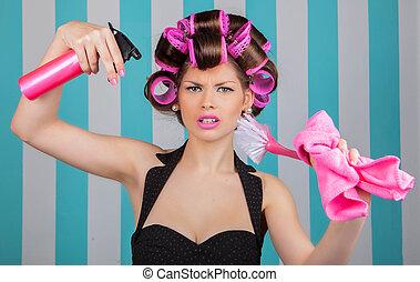 retro woman in rollers multitasking - stressed retro woman...