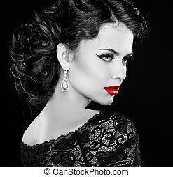 retro, woman., mannequin, m�dchen, portrait., schwarz weiß, photo., freigestellt, auf, schwarz, hintergrund.