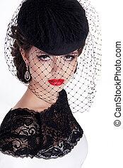 retro, woman., modelo moda, menina, portrait., isolado, branco, experiência.