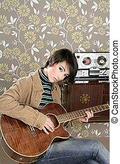 retro woman musician guitar player vintage