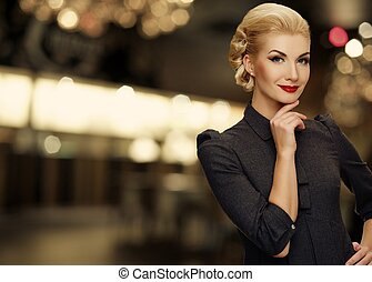 Retro woman over blurred background