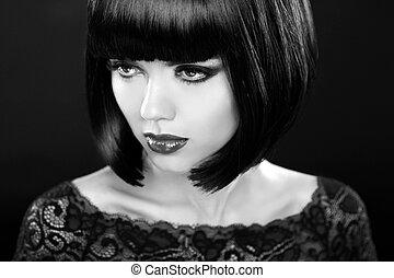Retro woman portrait. Fashion model girl face. Bob hairstyle. Bl