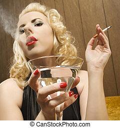 Retro woman portrait. - Attractive Caucasian woman holding a...