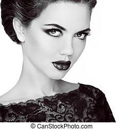 Retro woman portrait. Stare. Black and white photo. Vintage ...