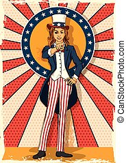 Retro woman posing Uncle Sam I WANT YOU - Concept of retro...