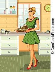 Retro woman serving tea