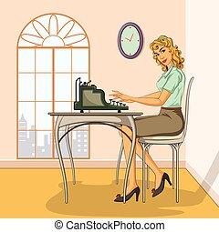 Retro woman typing on typewriter - Concept of retro woman ...
