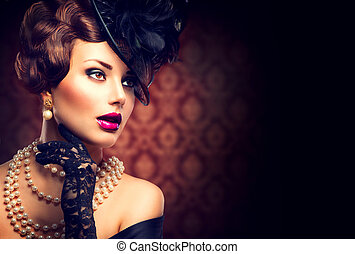 retro, woman., vendange, appelé, girl, à, retro, coiffure, et, maquillage