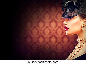 retro, woman., vendimia, diseñar, niña, con, retro, peinado, y, maquillaje