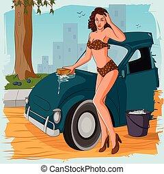 Retro woman washing car