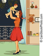 Retro woman with baby - Concept of retro woman embracing her...