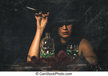 Retro woman with mouthpiece cigarette and alcohol. retro style image with artifacts
