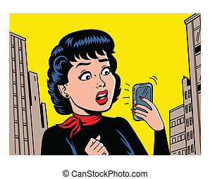 Ironic Satirical Illustration of a Retro Classic Comics Woman With a Modern Smartphone