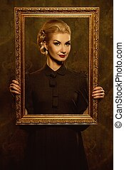 Retro woman with picture frame
