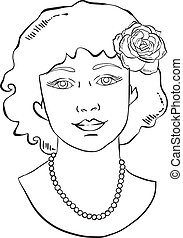 Retro woman with rose in her hair and a necklace