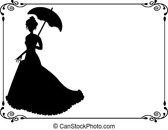 Retro woman with umbrella and frame - silhouette of a woman...