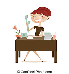 Retro woman working, isolated illustration