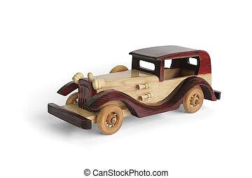 Retro wooden car (model),