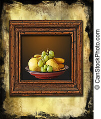 retro wooden frame with still life painting on grunge wall