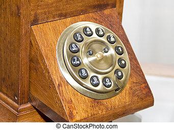 Retro wooden telephone