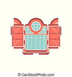 Retro wooden window, architectural design element vector Illustration on a white background