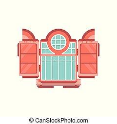 Retro wooden window, architectural design element vector Illustration on a white background