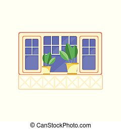Retro wooden window frame and plants in ceramic pots, architectural design element vector Illustration on a white background